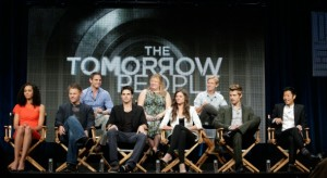 Showunners Greg Berlanti, Julie Plec and Phil Klemmer with Madeleine Mantock, Mark Pellegrino, Robbie Amell, Peyton List, Luke Mitchell and Aaron Yoo.  Photo: Joe Magnani/The CW. � 2013