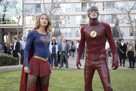 """Supergirl -- """"Worlds Finest"""" -- Image: SPG118_2740 -- Pictured (L-R): Melissa Benoist as Kara/Supergirl and Grant Gustin as Barry/The Flash -- Credit: Robert Voets/Warner Bros. Entertainment Inc. © 2016 WBEI. All rights reserved."""